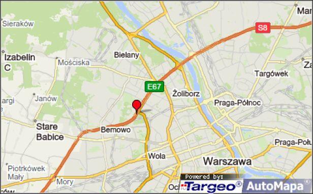 Poranne utrudnienia na trasie S8  Mapy Targeo