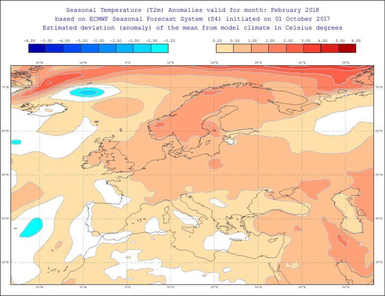Odchylenie średniej miesięcznej temperatury w lutym (ECMWF)