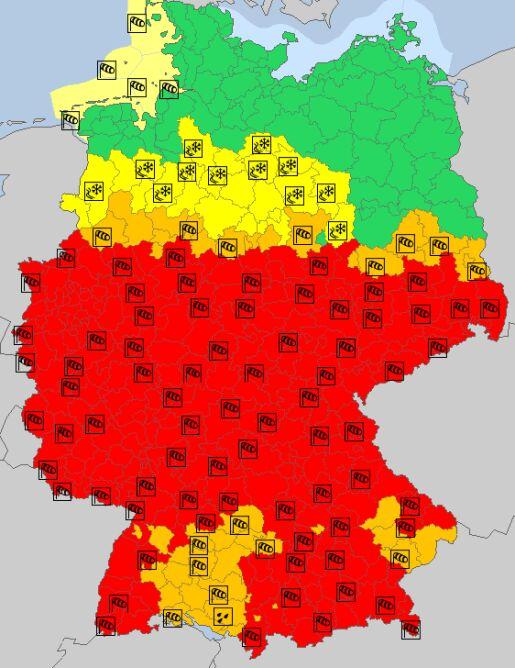 Ostrzeżenia meteorologiczne w Niemczech (meteoalarm.eu)